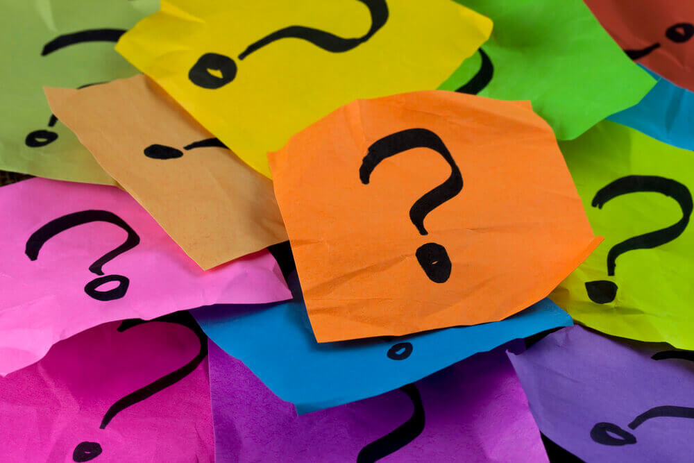 question marks on brightly colored post-it notes -- we're answering BDSM questions