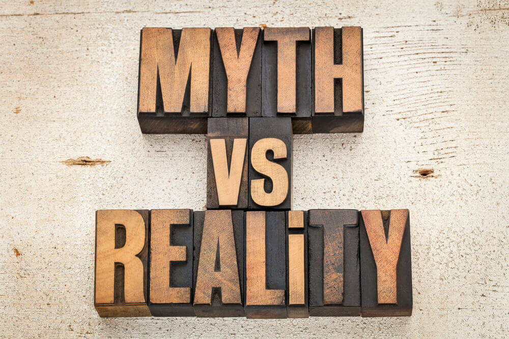 Large letters spelling out myth vs reality on neutral backdrop -- as we discuss whether a submissive can or should fulfill every single need their Dominant has