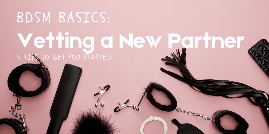 5 tips for vetting a new partner-- image of multiple BDSM toys on pink background